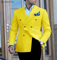 BridalAffair (vestes + pantalons) Supports à double boutonnage Yellow Groom Yellow Wedding Costumes Hommes Robe costume Dink Party En costume Formel Business