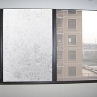 Elegante bloem wijnstok textuur zelfklevende statische privacy statisch-free gel glazen venster film thermische isolerende stick