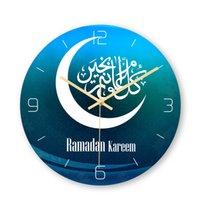 Jejuando auspicioso padrão muçulmano relógio de parede estéreo acrílico relógio quarto sala de estar decoração de casa
