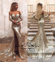 Sexy Gold Sequined Mermaid Prom Dresses 2019 Off Shoulder Lo...