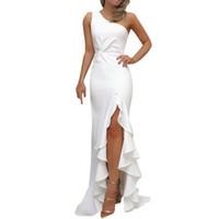 Cocktail Maxi Dress, Femmes Une Robe D'épaule Robe De Bal Formelle Robe De Soirée Robe Longue À Volants Dames Split Moulante Classique Parti Sexy Mince