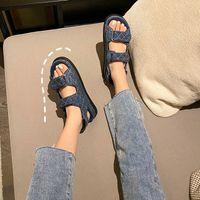데님 크리퍼 바느질 격자 머핀 샌들 여성 Hookloop 오픈 발가락 캐주얼 로마 샌들 아키지 스니커즈 샌테일 플랫폼 신발