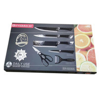Стильный черный нержавеющая сталь кухонный нож набор немецкой стали супер острые лезвия кухонный нож шеф-повара фрукты овощи ножницы антипригарным ножи