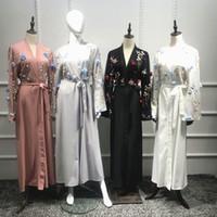 Roupas étnicas Aberta Abaya Dubai Kaftan Islamic Mulheres Muçulmanas Floral Bordado Vestido Kimono Turco Cardigan Hijab Manga Longa Dresse