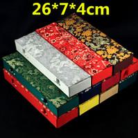 Estender retângulo de seda brocade caixas de presente para caixa de armazenamento de colar de jóias ofício decorativo rolagem pintura pauzinhos caixa de presente de ventilador de mão