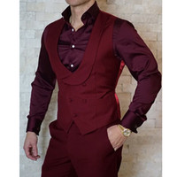 Dark Red Doppio Petto Mens Wedding Vest sposo Gilet Slim Fit Vest Mens italiano Groomsmen Gilet per partito