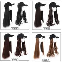 Boné de beisebol com cabelo sintético marrom preto cinza longo cabelo encaracolado com boné de beisebol peruca feminina