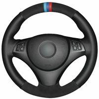 BMW E90 320i 325i 330i 335i E87 için Siyah Deri Süet Araç Direksiyon Kapak