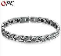 Pulsera de moda de acero titanium de joyería de moda coreana con cadena de salud magnética
