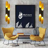 Modern replica design lamp Delightfull Coltrane Black Gold Inclined Wall Light up down aluminum pipe lights