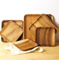 Neue Kunstplatte Akazienholz Tablett Teller Food Dessert Tee Teller Runde Rechteck Rechteck Geschirr Großhandel