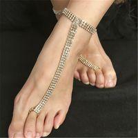 Muhteşem Kadın Ayak Zinciri Yalınayak Sandalet Plaj Düğün Takı Halhal Tam Rhinestone Toe Yüzük Ayak Takı 1 Çift