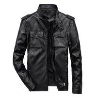 Cuero de los hombres Faux Mens Slim Fit PU Motocicleta Casual Chaquetas de moda Abrigos Soporte Collar Abrigo Más Tamaño Tops masculinos