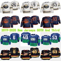 Edmonton Oilers 2019-2020 Third 97 Connor McDavid Sabres Golden 50th Season Third 9 Jack Eiche Vancouver Canucks 40 Elias Pettersson maglie