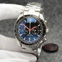 High Grade 44mm Quartz Chronograph Herren-Uhren Red Hände Edelstahl-Armband Feste Lünette mit einem Top-Ring Zeige Tachymeter Markierungen