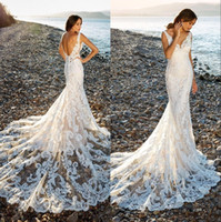 Romantic Chapel Train Lace Mermaid Wedding Dress 2020 V- neck...