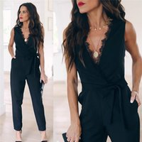 2020 sexy Summer jumpsuit women fashion lace up pocket romper solid sleeveless long jump suits ladies clothes overalls black