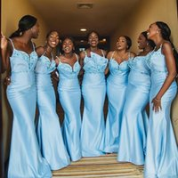 아소 에비 2020 아프리카 인어 신부 들러리 드레스 파란색 손님이 드레스 섹시한 공식 파티 저녁 댄스 파티 가운 예 robes de demoiselle d 'honneur