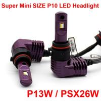 1 세트 슈퍼 소형 미니 크기 CSP 칩 P13W PSX26 P10 LED 헤드 라이트 1 : 1 오리지널 램프 터보 팬 포커스 빔 35W 5200lm 6000K