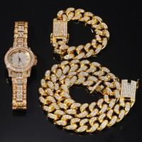 Хип-хоп Bling ювелирные изделия мужское ожерелье со льдом из алмазов Miami Cuban Link цепочка цепи золота серебряные часы ожерелья набор браслетов