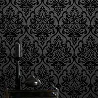 Die heiße Verkauf hochwertiges klassisches Geheimnis Black Velvet Beflockung Damast-Tapete Textile Wandbespannung für Heimtextilien