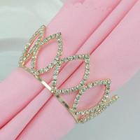 Rhinestones de cristal de diamante de oro de la corona imperial de los anillos de la servilleta por favor de la boda decoración de las mesas Party Supplies