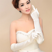 흰색 새틴 웨딩 장갑 위에 팔꿈치 길이 전체 손가락 신부 장갑 여성 긴 스타일 신부 결혼식 장갑