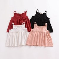 Baby Girl Clothes Suspender Toddler Dresses Shirts Solid Chi...