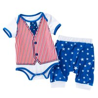 الملابس مجموعات الأطفال الصيف الطفل رومبير قصيرة الأكمام الحريم السراويل الاستقلال يوم 2 قطعة دعوى نجوم الفتيات الفتيان الملابس مجموعة