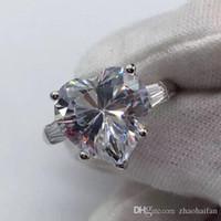 ZHF Bijoux Sécurité Logo 100% Solide 925 Sterling Anneaux En Argent Pour Les Femmes 4CT SONA CZ Diamant Bague De Fiançailles De Mariage Fine Jewelry