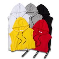 Mens caldo di vendita 5 colori solidi Vest Felpe Casual Sportivo Maglione con cappuccio respirabile di estate Maschio Abbigliamento