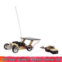 Holzsonnen Drahtlose Fernbedienung Auto Wissenschaftliches Experiment Spielzeug Handmade Technik Schaltungs Kits pädagogische Geschenke für Kinder zusammenbauen
