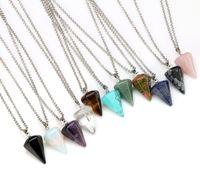 Natürliche Edelstein Anhänger Halskette Crystal Healing Chakra Reiki Silber Stein Hexagonal Prisme Cone Pendulum Charm Halsketten