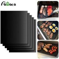 Hot Barbecue Grilling Liner BBQ Grillmatte Tragbare Antihaft und wiederverwendbar machen Grillen leicht 33 * 40 cm 0,2mm Black Ofen Hotplate Mats WCW211