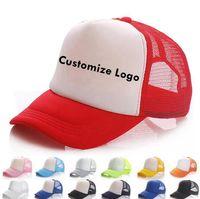 Los niños del logotipo del casquillo del camionero personalizado gorra de béisbol 20 colores en blanco del acoplamiento del casquillo niñas ajustables Niños Snapbacks OOA7556