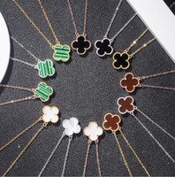 Charm Design Women Double- Sided Black Agate Rose Gold Clover...