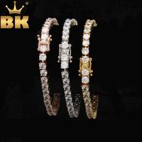 Rundschnitt-Tennis-Armband 5mm Zirkonia Triple-Lock-Hiphop Schmuck 1 Row Cubic Luxuxkristallglas CZ-Mann-Mode-Charme-Armbänder Y200107