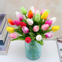 Bellezza vero tocco fiori in lattice Tulipani fiore Artifici mini Tulip Wedding Bouquet decorativo decorazioni di nozze Home Decor 12 Colore CFYZ43Q