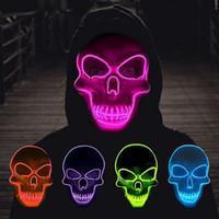Haxin Halloween Skeleton Mask Maschera Led Glow Scumo Maschera El-Wire Light Up Festival Costume Cosplay Forniture Maschera da festa Mardi Gras