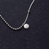 Collane a sospensione 100% Solid 925 sterling argento semplice rotondo lettera incisa laterale fortunato collana per le donne ragazze regalo gioielli