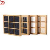 Bandeja de exhibición de anillo de bambú y madera de 9 bits Soporte de exhibición de joyería de terciopelo de cuero PU Asiento de anillo de pareja