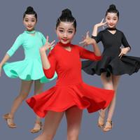 Sahne Giyim Kızlar Latin Dans Elbise Balo Salonu Yarışması Çocuk Çocuklar Için Samba Rumba Salsa Cha Elbiseler Tango Kostümleri Pratik Dans