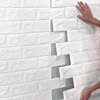 70 * 77 10pcs 3D Brick Wall Sticker fai da te autoadesivo Decor Schiuma carta da parati impermeabile di copertura per bambini in camera da cucina Adesivi