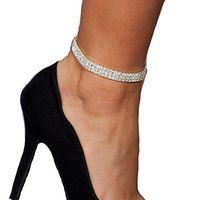 Großhandel Kristall Strass Bridal Anklet Tennis Knöchelkette Fußkettchen Armband Sexy Frauen Sommer Strand Sand Schmuck 1-5 Reihen
