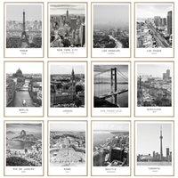 Черный белый холст живопись Мир город Ландшафт Париж Лондон Нью-Йорк Плакат печать Nordic стиль стены искусства рисунок домашнего декора