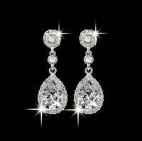 Brillantes cristales de moda Pendientes Rhinestones de plata Pendiente de gota largo para mujeres Joyería nupcial 5 colores Regalo de boda para un amigo