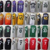 Juventude Kyle Lowry Camisa de basquete Donovan Mitchell Jayson Tatum Larry Bird Vince Carter Dwyane Wade Verde Vermelho Branco Grey costurado Crianças