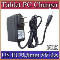 50X 2.5mm 5V 2A Charger Converter Power Adapter US EU plug 100-240V AC 50 60Hz for 7 9 10 A23 A33 A31S A83T Tablet PC 7-CQ
