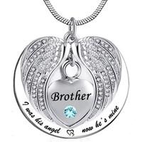 남여 천사 윙 Birthstone Memorial Keepsake 유골 Urn 펜던트 목걸이 '나는 지금 그의 광각이었습니다.'- Brother