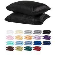 100% poliéster cetim fronha estilo simples Simulado de seda cor sólida fronha macia brilhante extra suave e confortável Individual VT1421